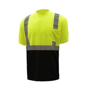 Custom Made High quality 5 cm high reflective tape safety t shirts