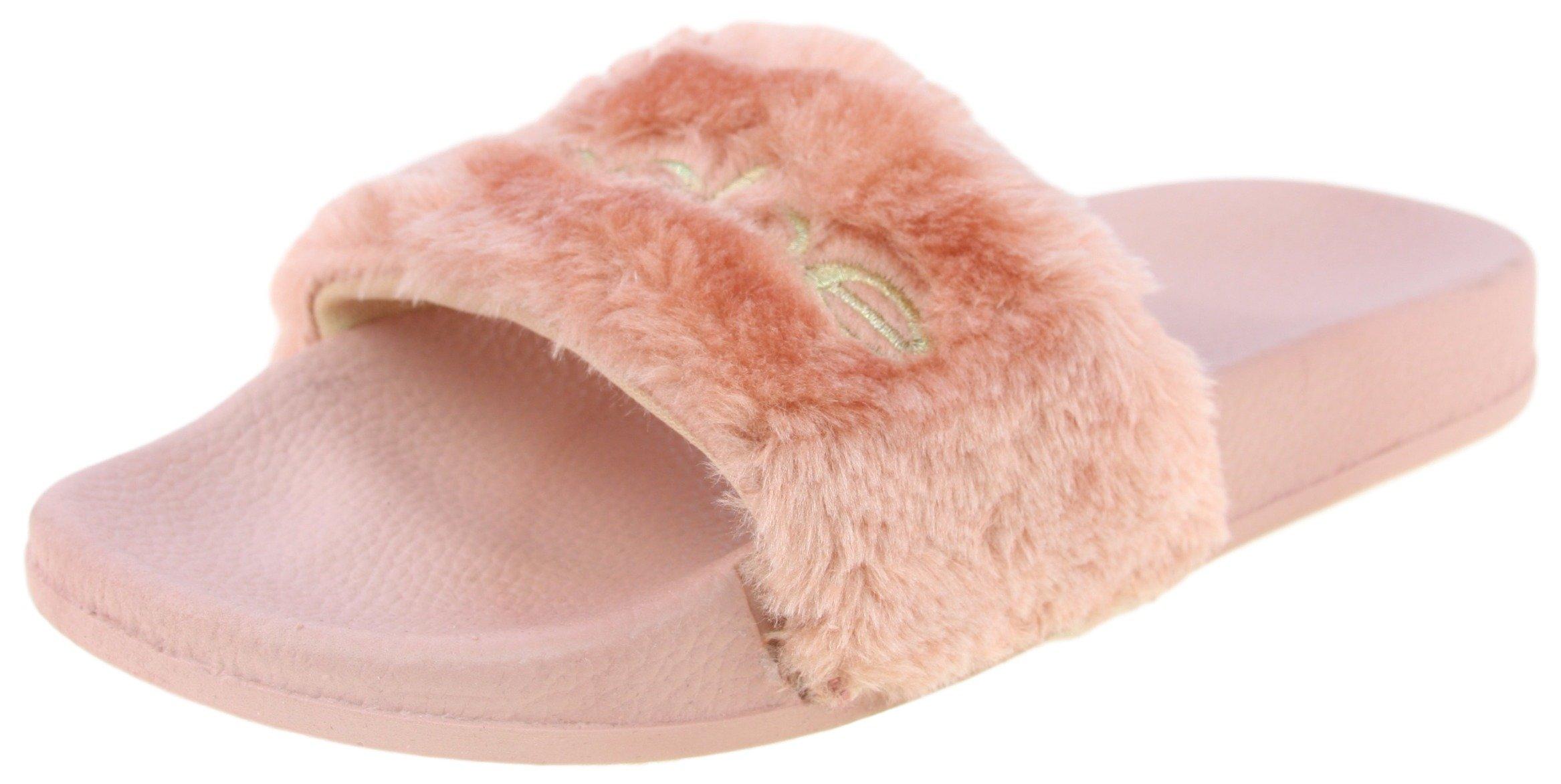 3856166222e5 Get Quotations · Bebe Girls Faux Fur Embroidered Slides Sandal