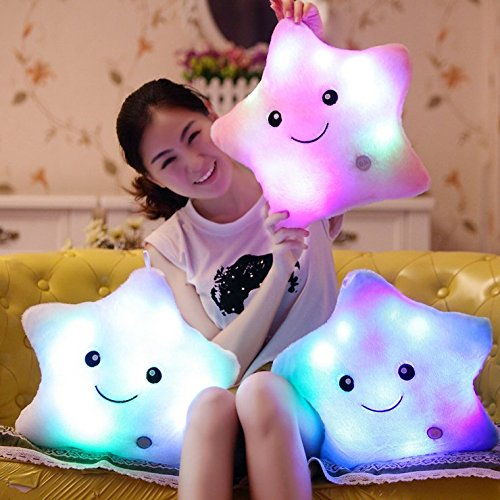 Creative Glowing LED Night Light Twinkle Star Shape Plush Pillow Stuffed Toys, Pink