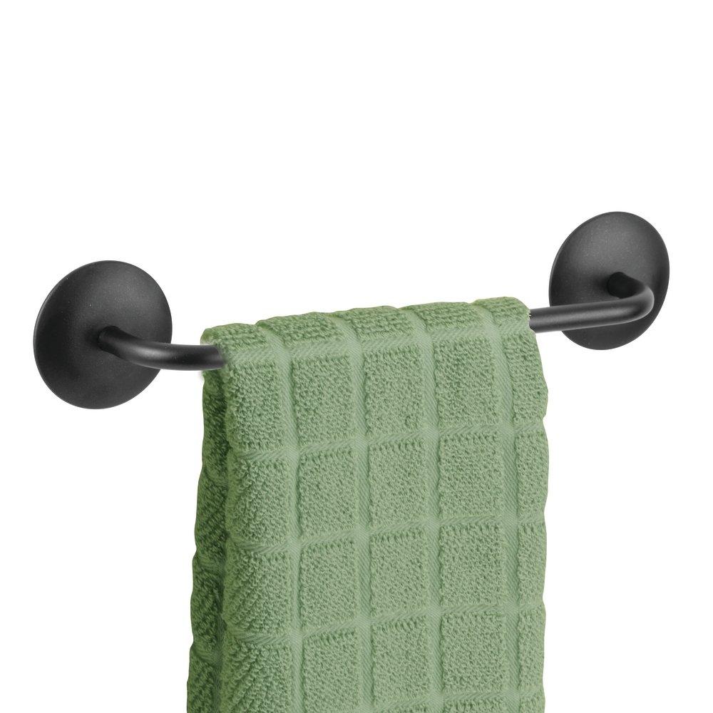 mDesign Kitchen Self-Adhesive Towel Bar Holder for Hand Towels, Dish Towels - Pack of 2, Matte Black