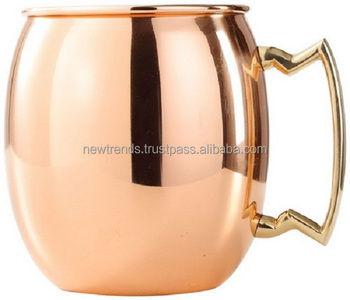 Pure Handcrafted Moscow Mule Copper Mug with Brass Handle and Nickel Lining 16 ounce