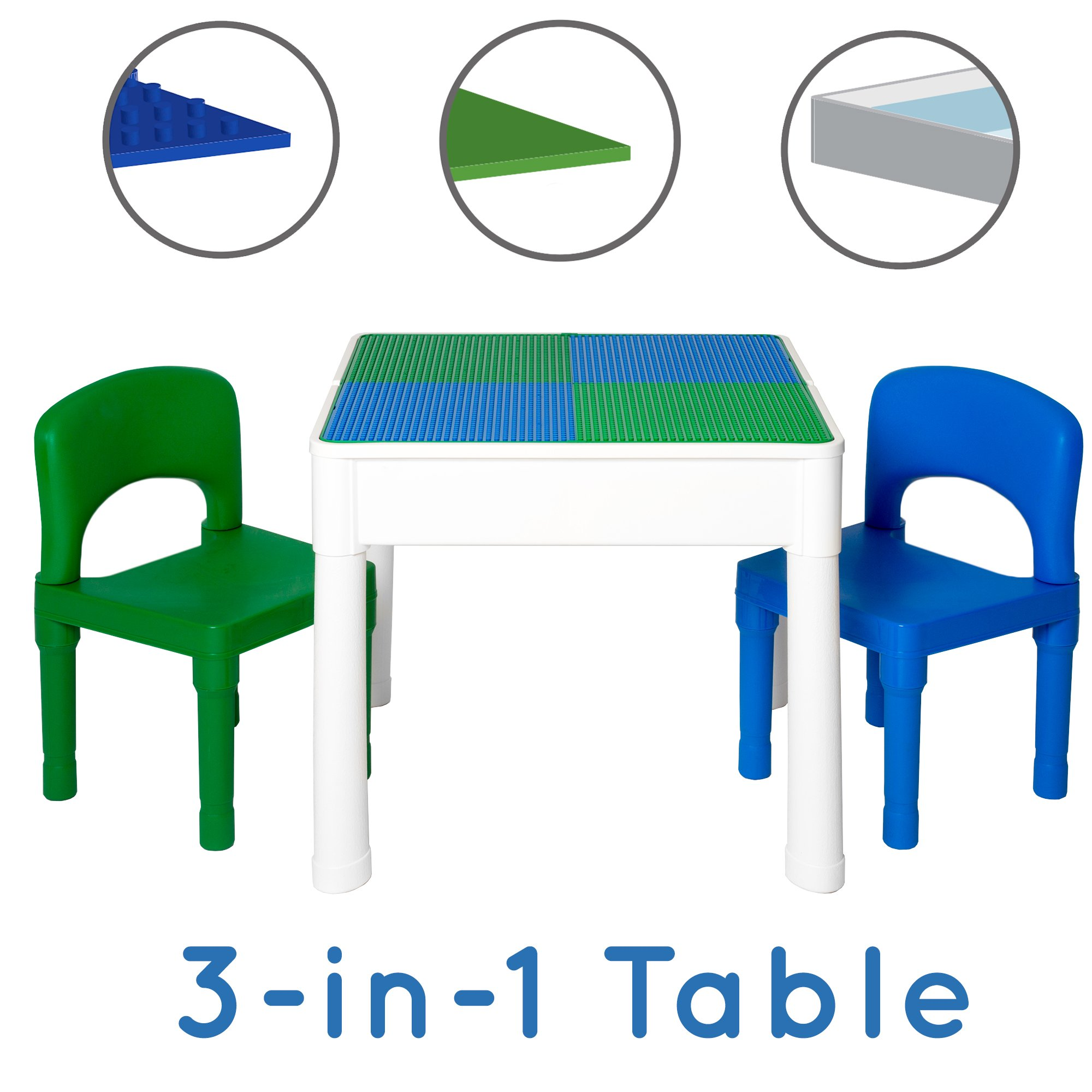 Step2 Childrens Activity Table 2 Chairs Set Grey Green Plastic
