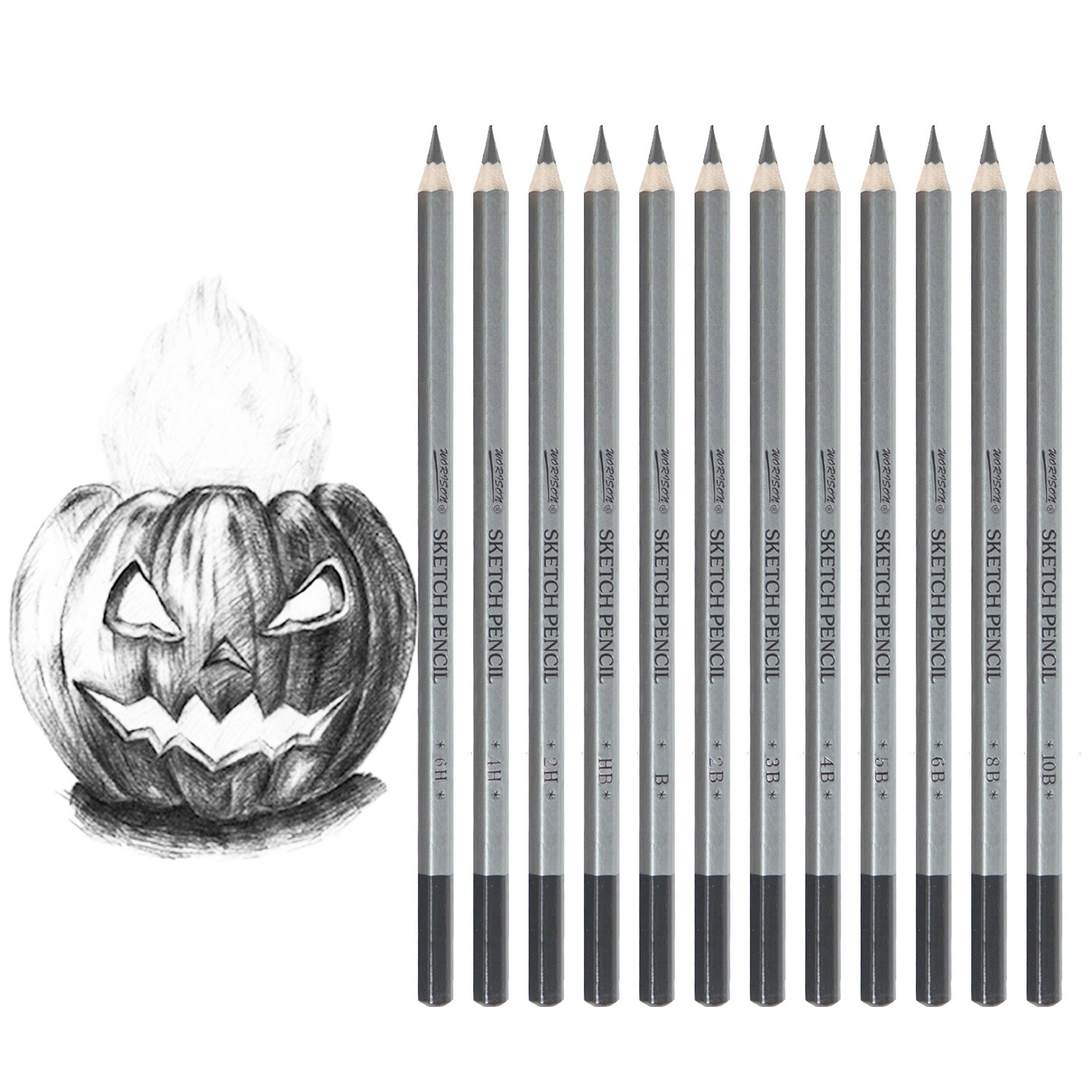 Get quotations · dyvicl drawing pencils set 12 pieces sketching pencils 10b 8b 6b 5b