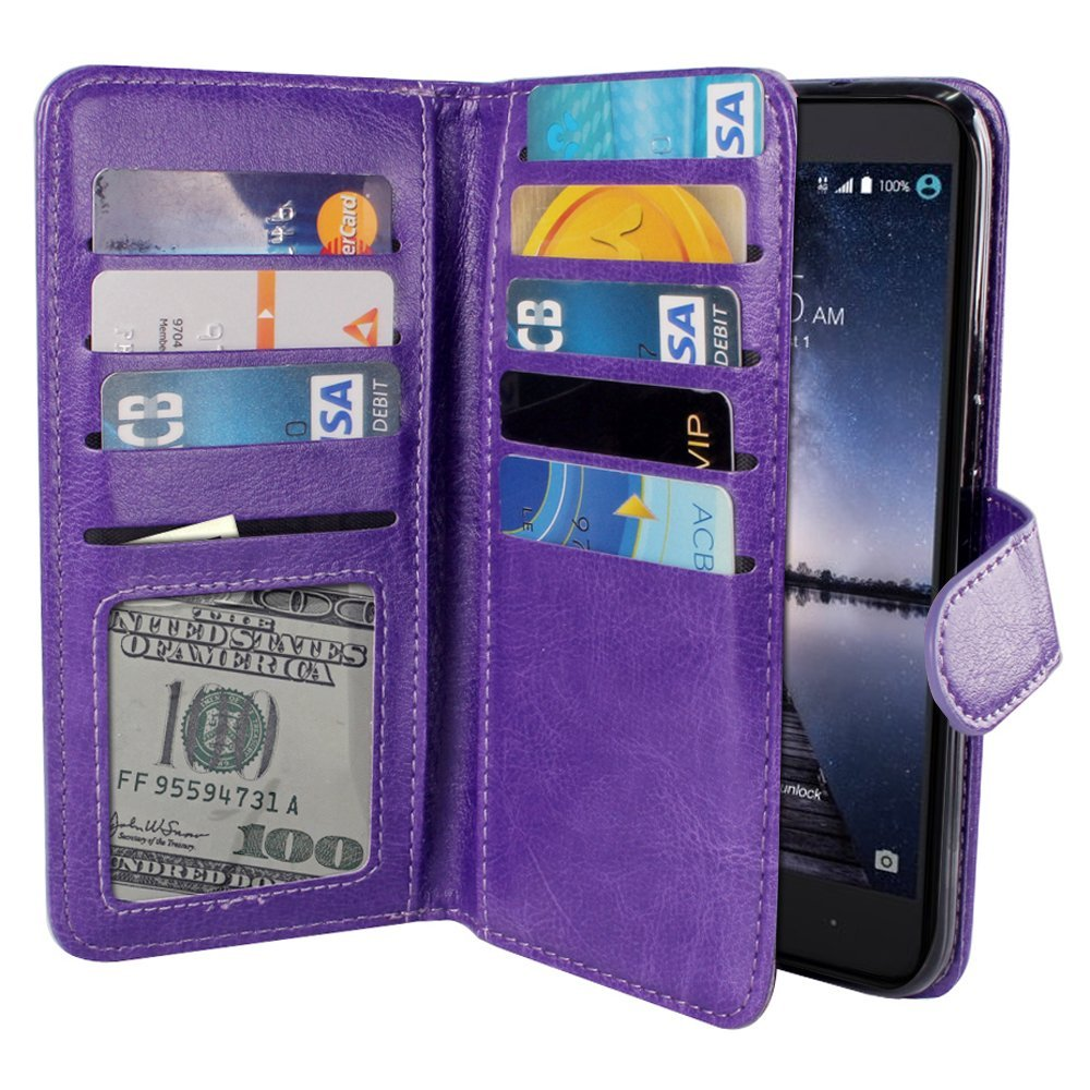 ZTE Zmax Pro Carry Z981 Case, NEXTKIN Premium PU Leather Dual Wallet Folio TPU Cover, 2 Large inner Pockets Double flap Privacy, 9 Card Slots Holder Snap Button & Wrist Strap - Purple