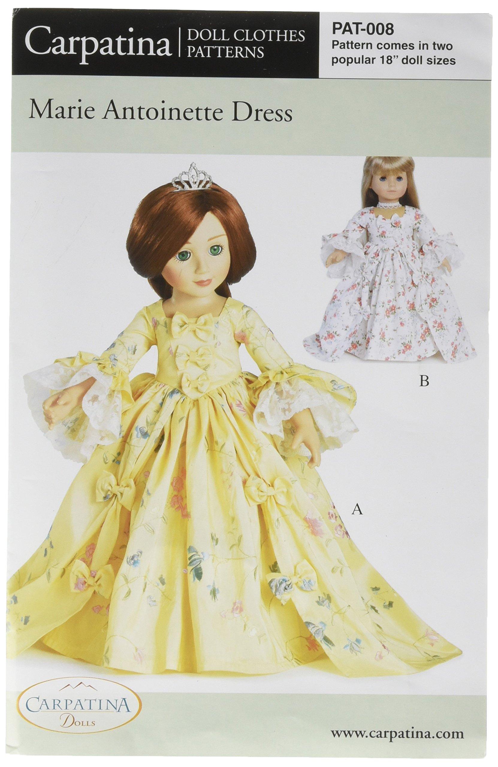 """Pattern for Marie Antoinette Dress - fits 18"""" American Girl Dolls"""