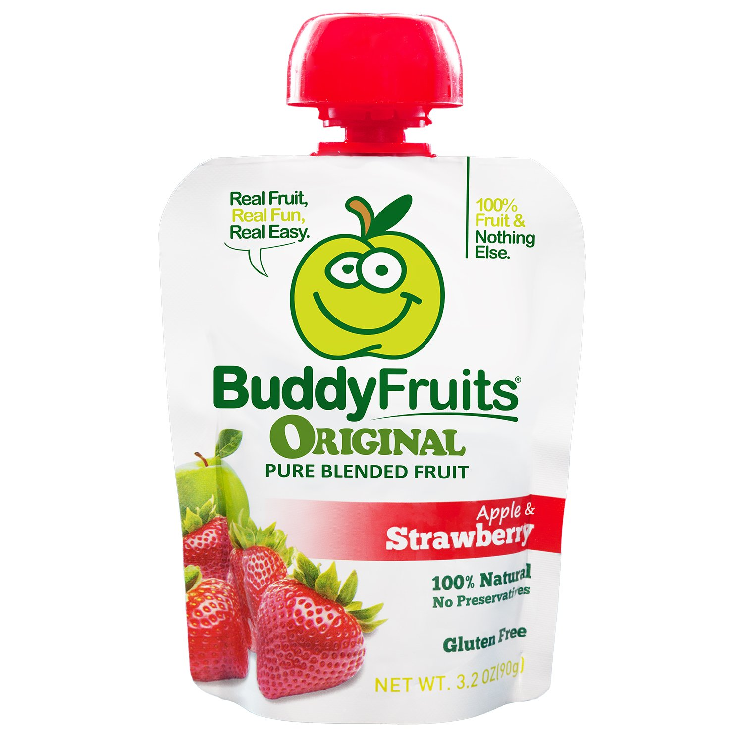 Buddy Fruits Pure Blended Fruit To Go, Strawberry, 3.2-Ounce Packages (Pack of 18)