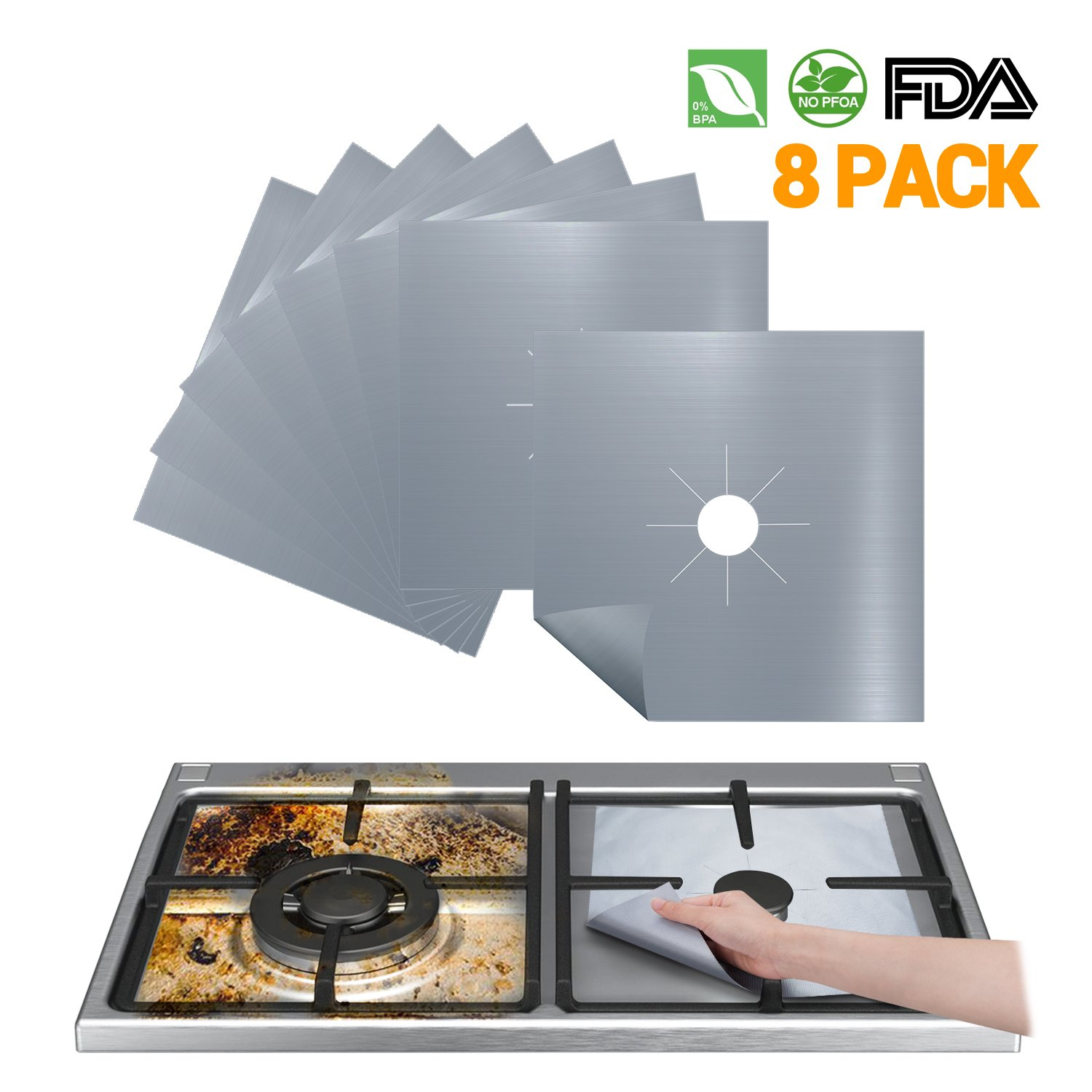 Stove Burner Covers Reusable Gas Stove Protector - FDA Approved Gas Range Protectors | Non-stick Stovetop Protector Liner - Heat Resistant BPA Free Non Toxic & Cuttable and Easy to Clean (Silver)