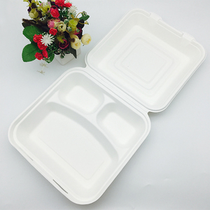 eco-friendly biodegradable 8inch 3 compartment disposable food packaging microwave safe