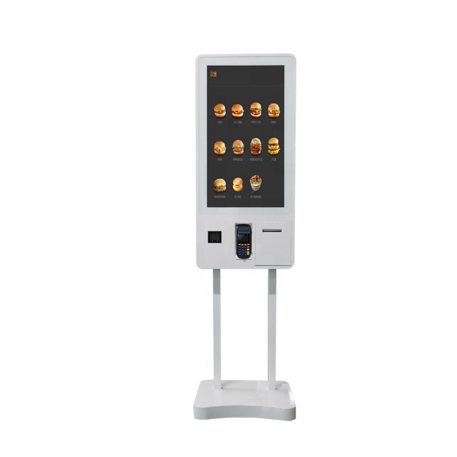 32 Inch Wall Mounting Restaurant Digital Touch Screen Kiosk With Thermal Printer And Scanner