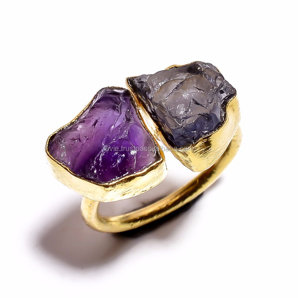Victorian Style Iolite Amethyst Gemstone Gold Plated Brass Jewelry
