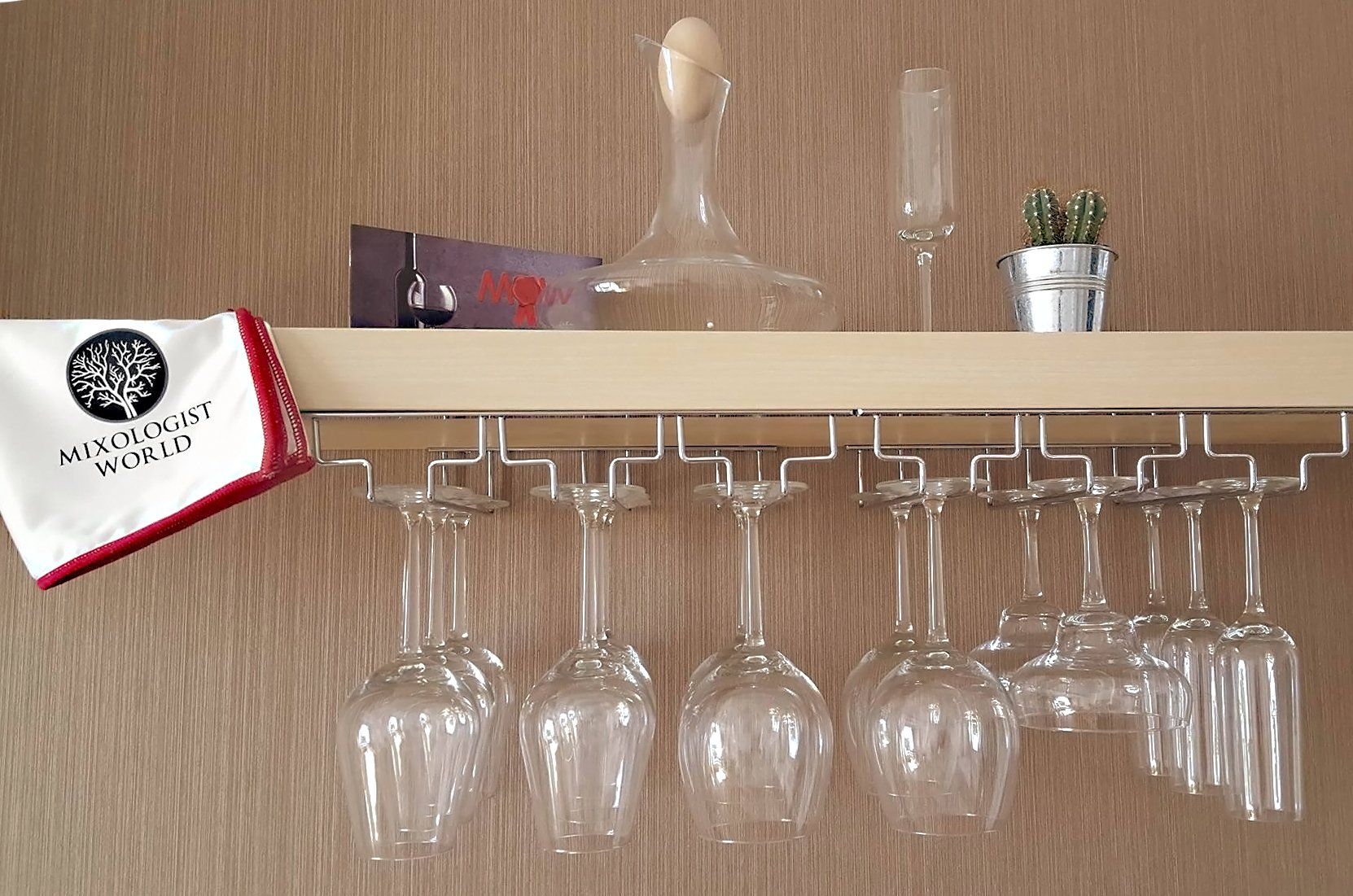 Wine Gl Rack Under Cabinet Storage Hanging Holder With Polishing Cloth