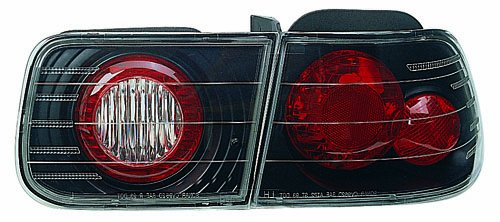 In Pro Car Wear CWT-727R Crystal Red/Clear Tail Lamps 1992-1995 Honda Civic 2-door & 4-door