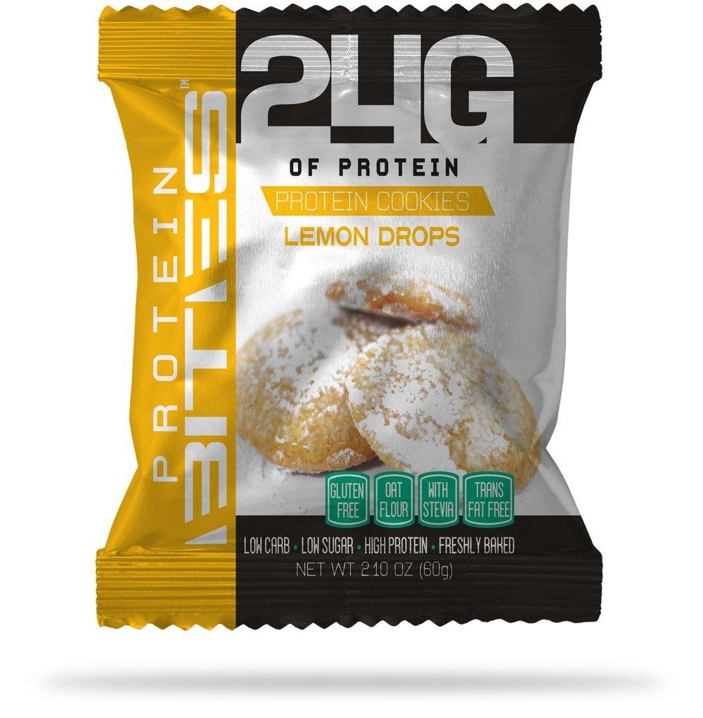 My Protein Bites | Protein Cookies | 24 Grams Of Protein, Low Carbs & Low Sugar | Gluten Free & Sweetened with Stevia | (8 Packs of 3 Cookies (24 Cookies) Lemon Drops Cookies)