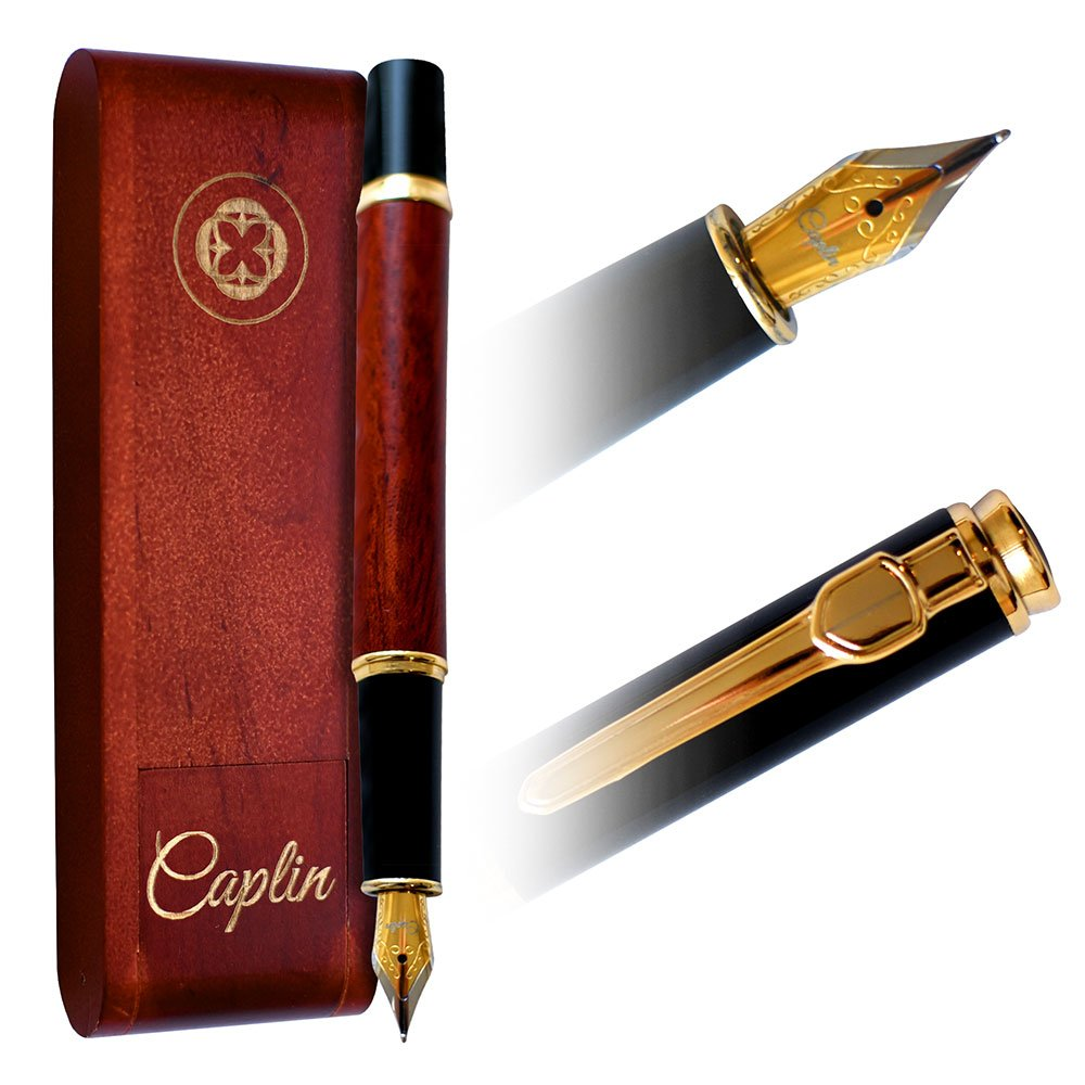 Caplin ROSE GOLD FOUNTAIN PEN | Natural Handcrafted Wine Rosewood Gift | Gracious Ink Flow | Luxury Vintage Pen | Business Work Home | Classic Edition | Gift Set