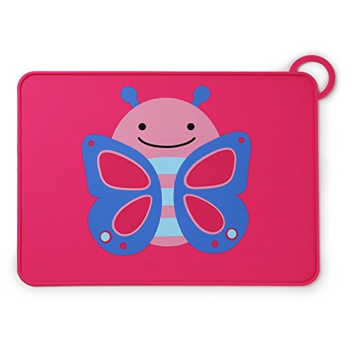 Skip Hop Baby Zoo Little Kid and Toddler Fold and Go Non-Slip, Food-Grade Silicone Placemat, Multi, Blossom Butterfly