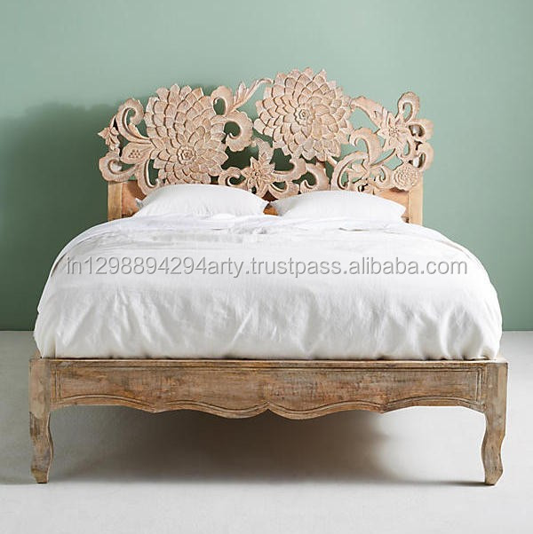Antique Carved Wooden Bed Indian Carvings High Headboard Bed Buy Carved Solid Wood King Bedsbedcarved Wood Beds Product On Alibabacom