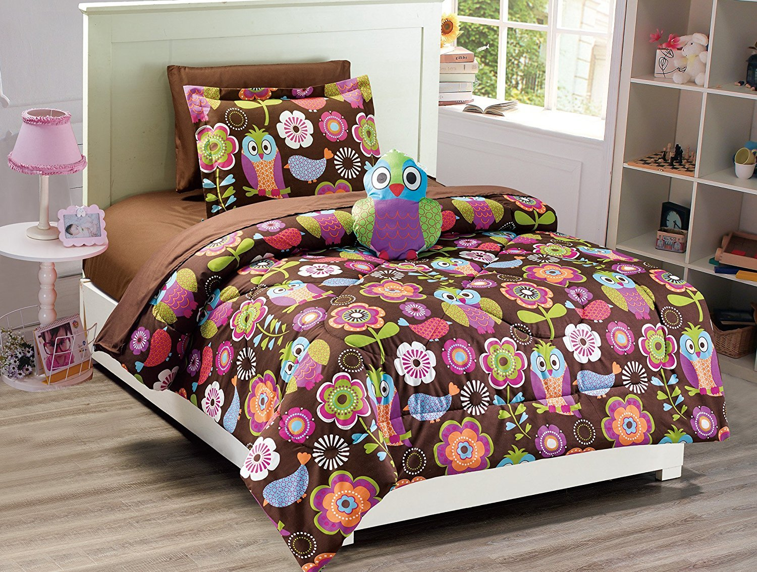 Elegant Home Multicolor Brown Purple Pink Green White Owl Design Fun 6 Piece Comforter Bedding Set for Girls / Kids / Teens Bed In a Bag With Sheet Set & Decorative TOY Pillow # Owl (Twin)