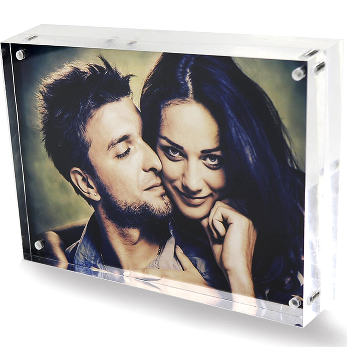 Clear Acrylic 6x8 Magnetic Picture Frames, Love Double Sided Magnetic Photo Frames, Home Office Table Plexiglass Picture Display Stand Holder for Best Friends Children Grandpa Wedding