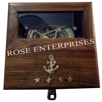 Nautical Vintage Brass Maritime Sundial Compass with Solid Wooden Gifted Box \ Gifted Item