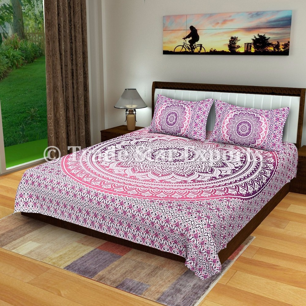 Indian traditional cotton Hand made Elephant hand block printed queen bed sheet Tapestry Throw
