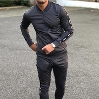 OEM mens side strip With Custom Brand Logo Print Sweatsuit/ Training jogger sweat suits