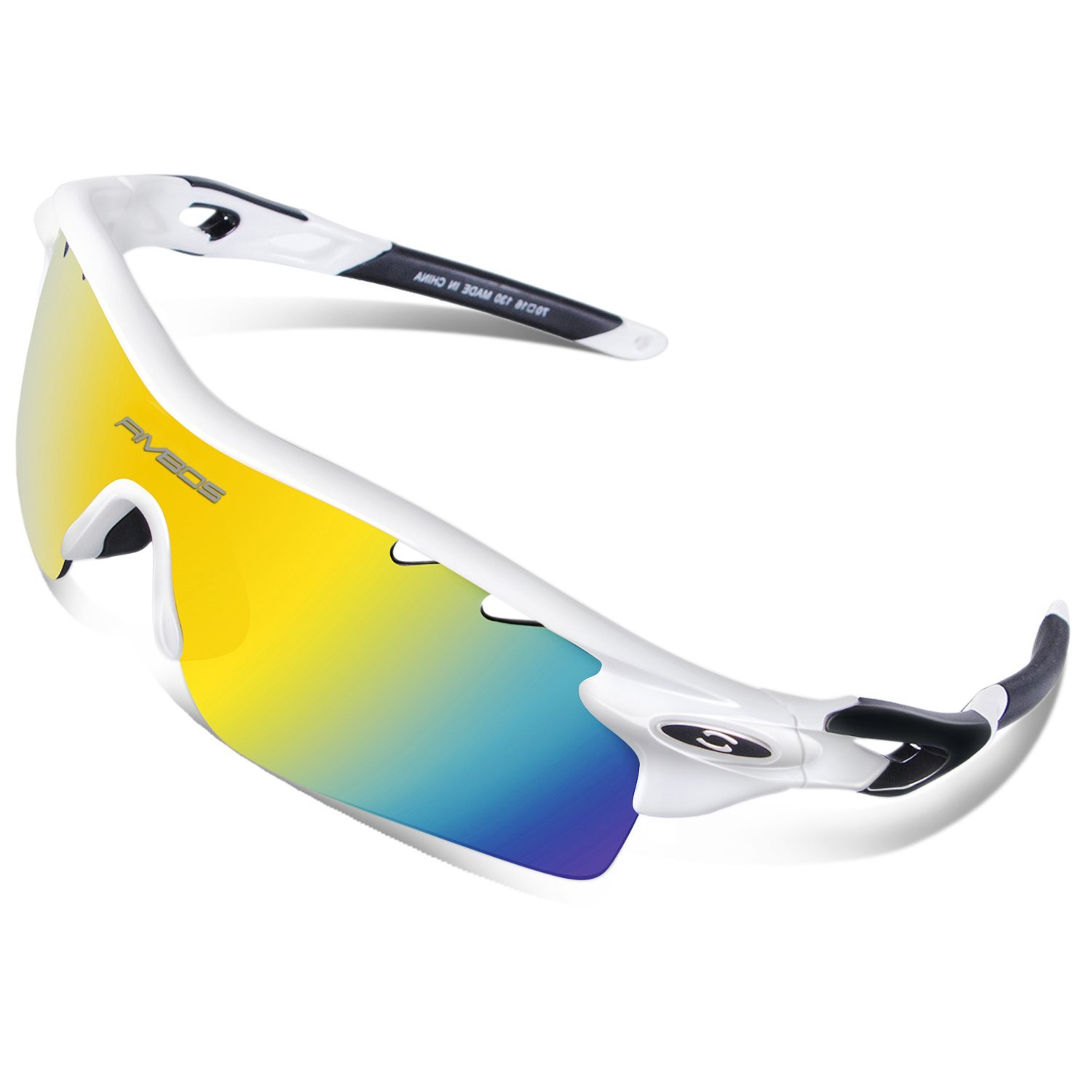 75edf229a8 RIVBOS 801 Polarized Sports Sunglasses Sun Glasses with 5 Interchangeable  Lenses for Men Women Baseball Cycling