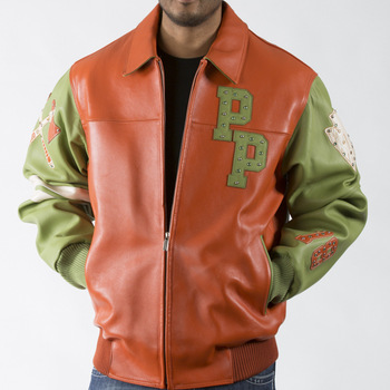 Two Tone Orange Green Leather Jacket with Multiple Studs