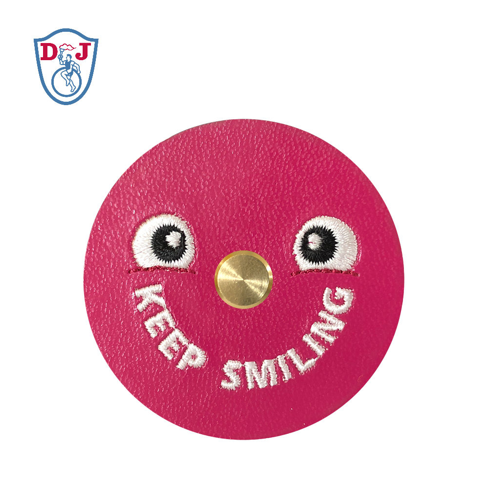 Embroidered Earbuds Holder Winder PU <strong>Leather</strong> with smile face for promotion