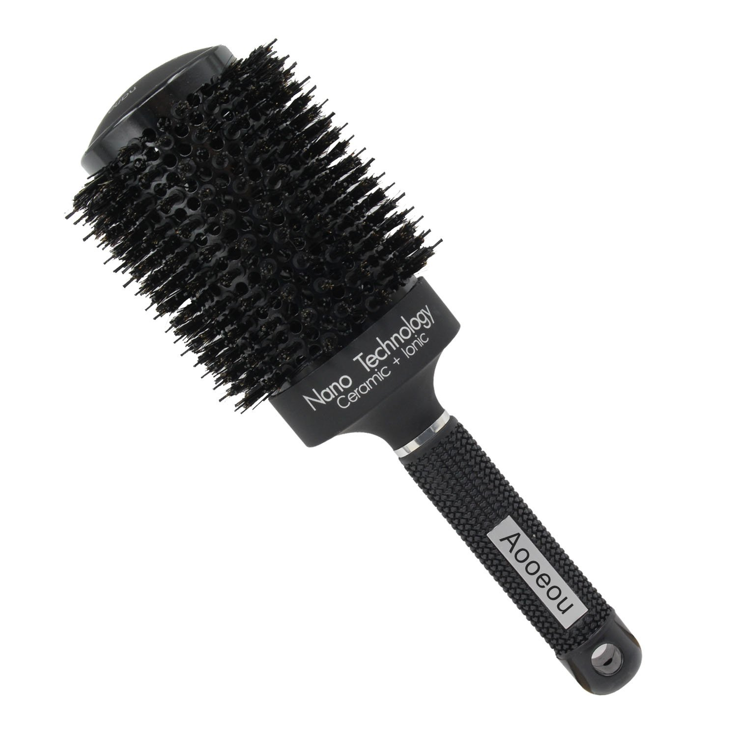 Large Round Brush with Boar Bristles 2.1 inch-Aooeou Nano Thermal Ceramic & Ionic Round Blow Dryer Barrel Hair Brush for Curly Hair Drying, Styling, Curling