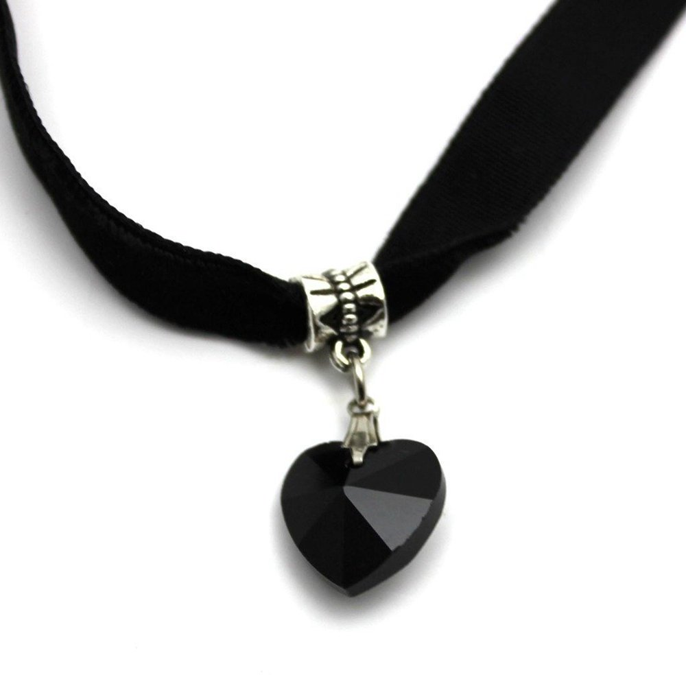 Danyoun Lady Velvet Choker Necklace Girls Retro Handmade Love Heart Crystal Charm Pendant Retro Hippy Black Velvet Choker Neck Lace Women Necklace Jewellery for Party, Wedding, Costume