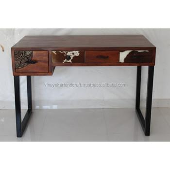 Vintage Industrial Office Desk Modern 4 Drawers Solid Wood Office Desk  Unique Designer Desk 2018 New