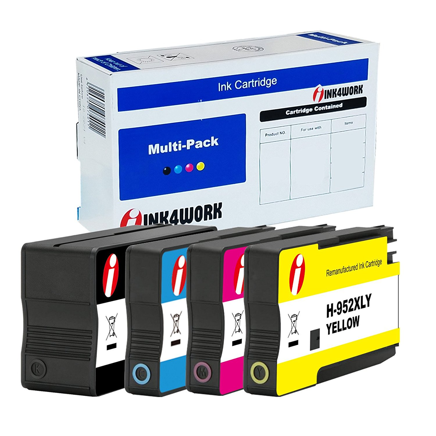 ESTON Remanufactured for 952XL 952 XL High Yield Ink Cartridges 2 Set Black Cyan Magenta Yellow for OfficeJet Pro 8710 8720 8740 7740 8210 8216 8700 8730 8715 8725 8702 Printers