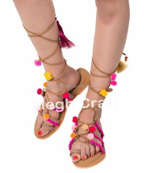 be170f7df31 Pom pom sandals  Tie up Gladiator Sandals  Bohemian Pom Pom Sandals - Boho  POM