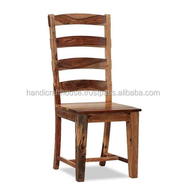 Industrial Vintage Indian Old Solid Wooden Natural High Back