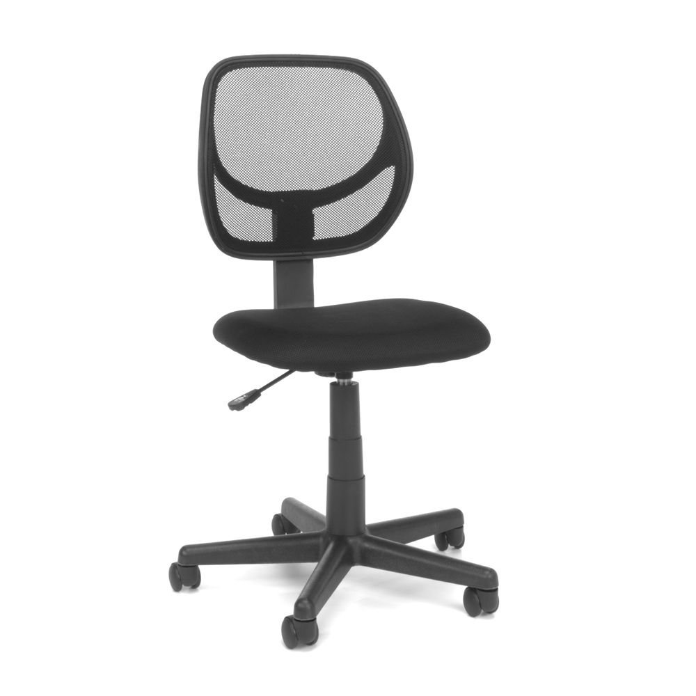 "Essentials Armless Fabric Task Chair with Mesh Back Dimensions: 18""W x 21""D x 34-38.5""H Seat Dimensions: 17.25""Wx15.5""Dx16-21.25""H Weight: 21 lbs. Black Mesh Back/Black Fabric Seat/Black Base"