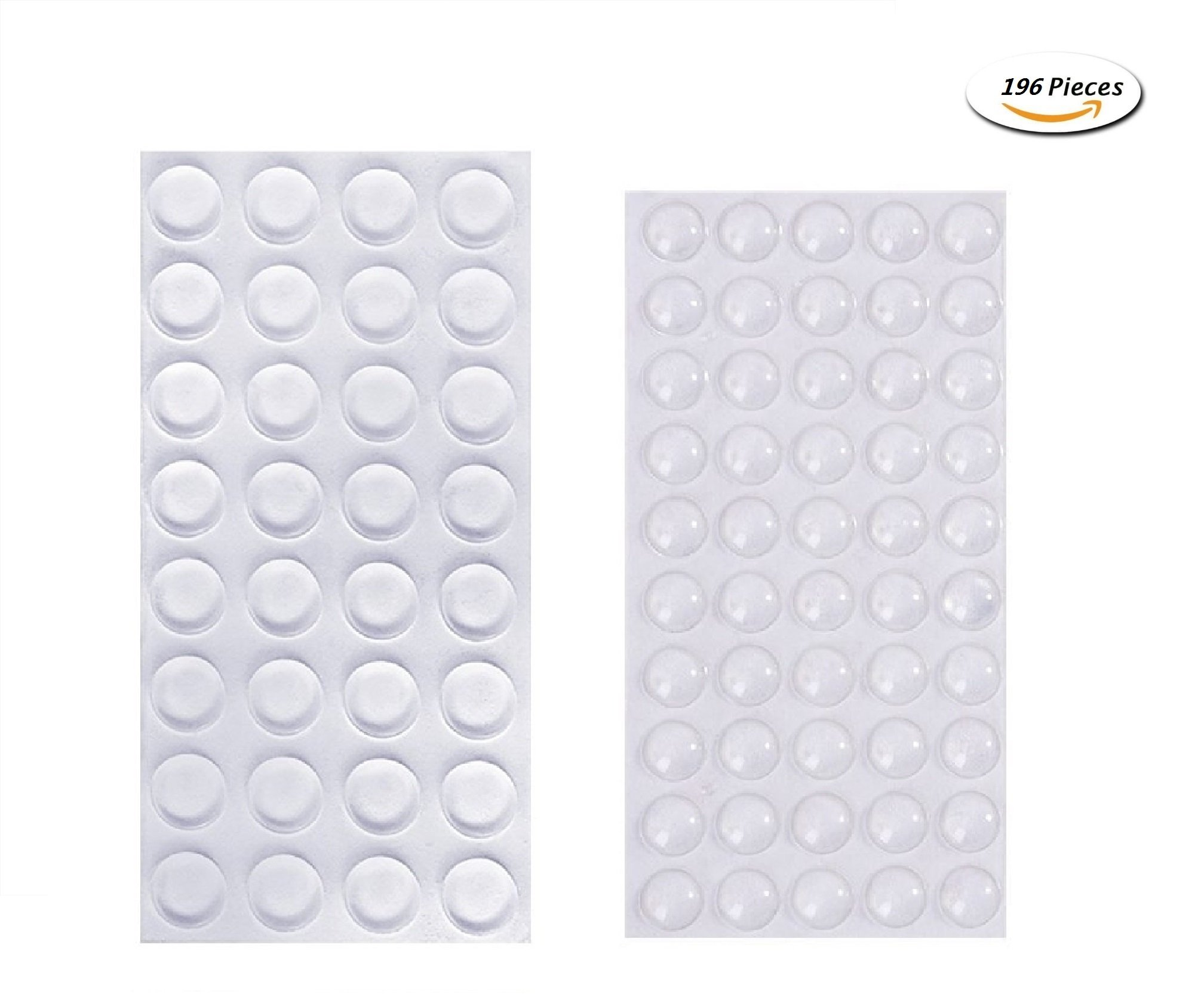 HAWORTHS 196 Pack Small Door Bumpers Self-Adhesive Clear Rubber Feet Tiny Bumpons - 100 Pack 10mm (Dia) X 3mm (H) Hemispherical Shape,96 Pack 11mm (Dia) X 3mm (H) Cylindrical Shape