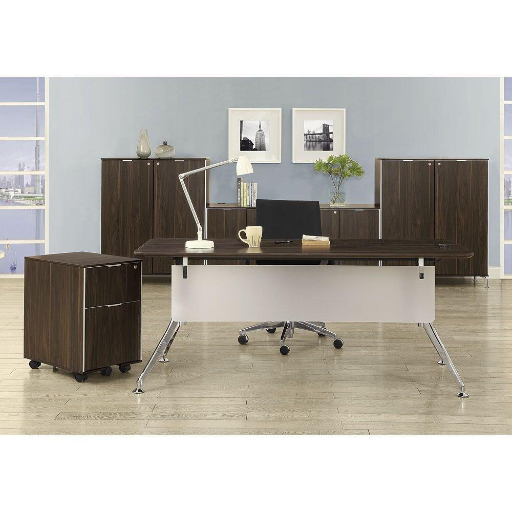 Get Quotations · Executive Desk Suite Dark Walnut Laminate Top/Acrylic Modesty Panel/Black and Chrome Aluminum