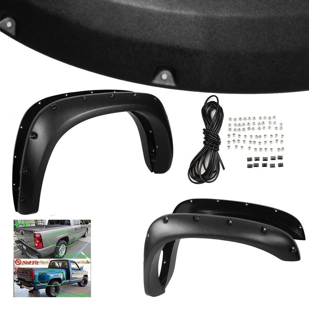 RAFTUDRIVE 4pcs Textured Black ABS Pocket Rivet Bolt-On Fender Flares Fit 2002-2008 Dodge RAM 1500 and 03-09 Dodge RAM 2500/3500 Pickup (Not Fit Dually Model Which Has Dual Rear Wheels)