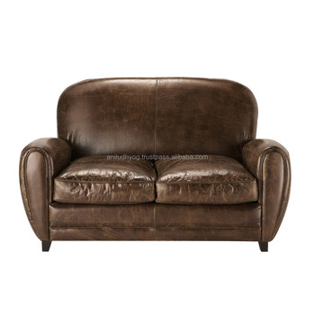 Two Seater Leather Vintage Sofa In