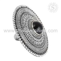 Trendy vintage style black onyx silver rings 925 sterling gemstone silver ring jewelry online wholesaler supplier