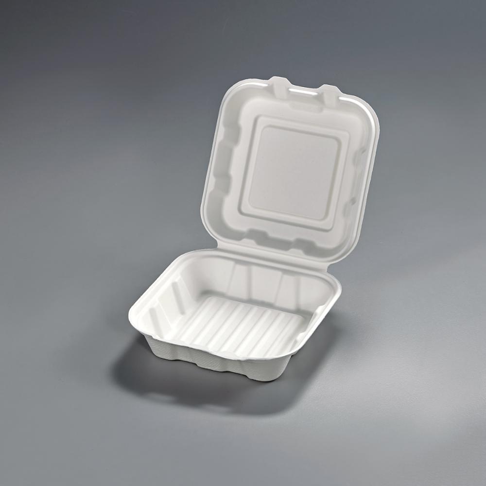 Biodegradable boxes Sugarcane Takeaway Hamburger Box