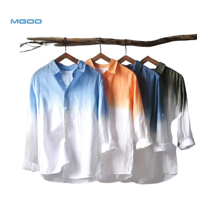 Mgoo Mens Zomer Wit Linnen Strand Shirt Heren Lange Mouw Strand T Shirts