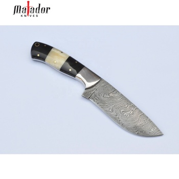 Damascus Knife Custom Handmade Damascus Hunting Knife in Camel Bone Horn Steel Bolster OAL 9 inches with Leather Sheath Twist