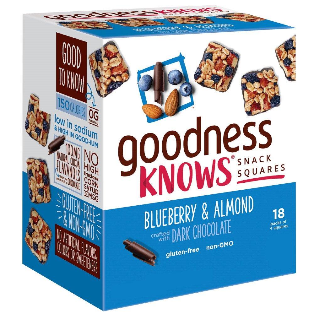goodnessKNOWS Blueberry, Almond & Dark Chocolate Gluten Free Snacks Square Bars 18-Count Box