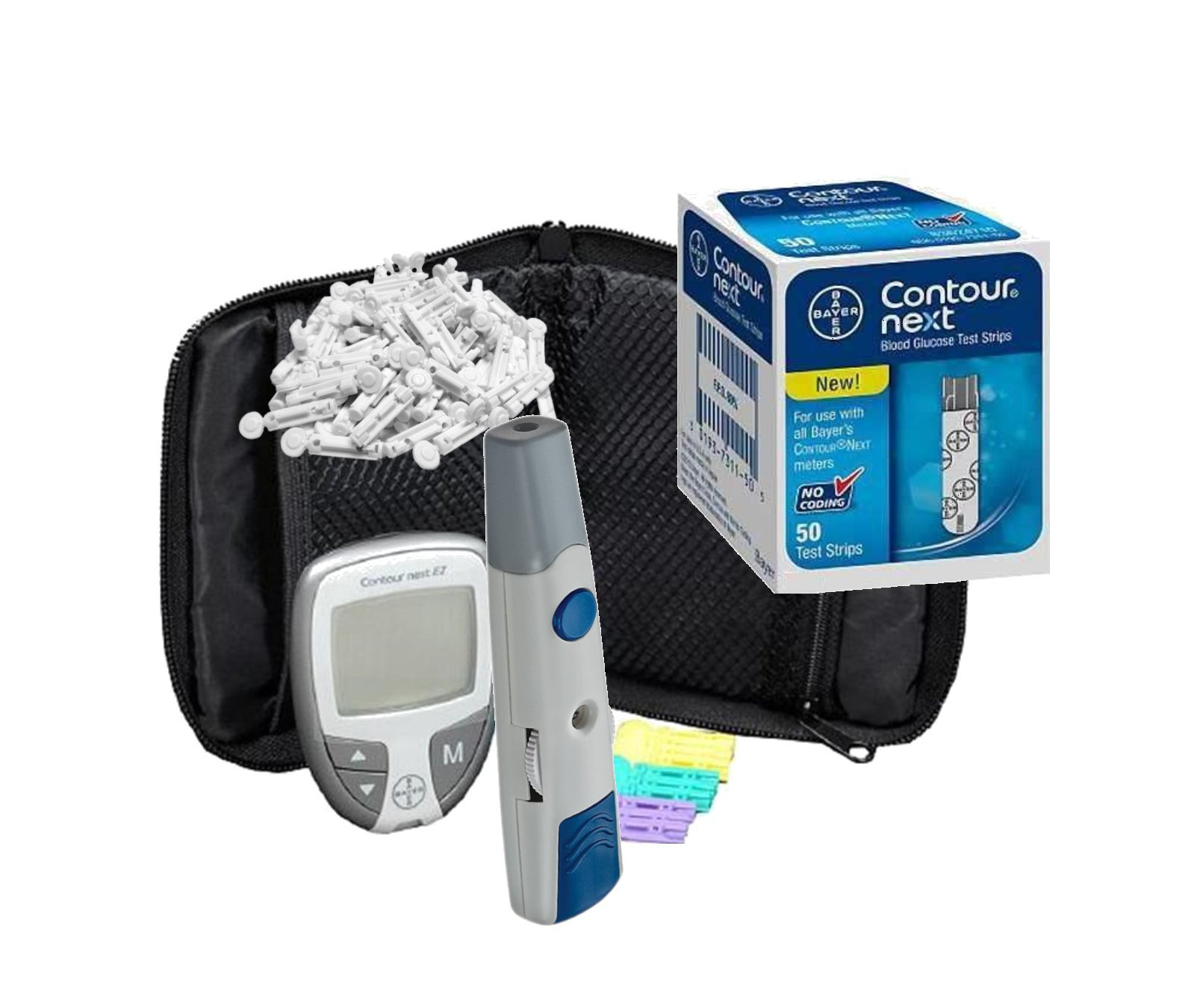 WBM Bayer Contour NEXT EZ Complete Diabetes Blood Glucose Testing Kit, METER, 50 Test Strips, 100 Lancets, Lancing Device, Manual, Carry Case