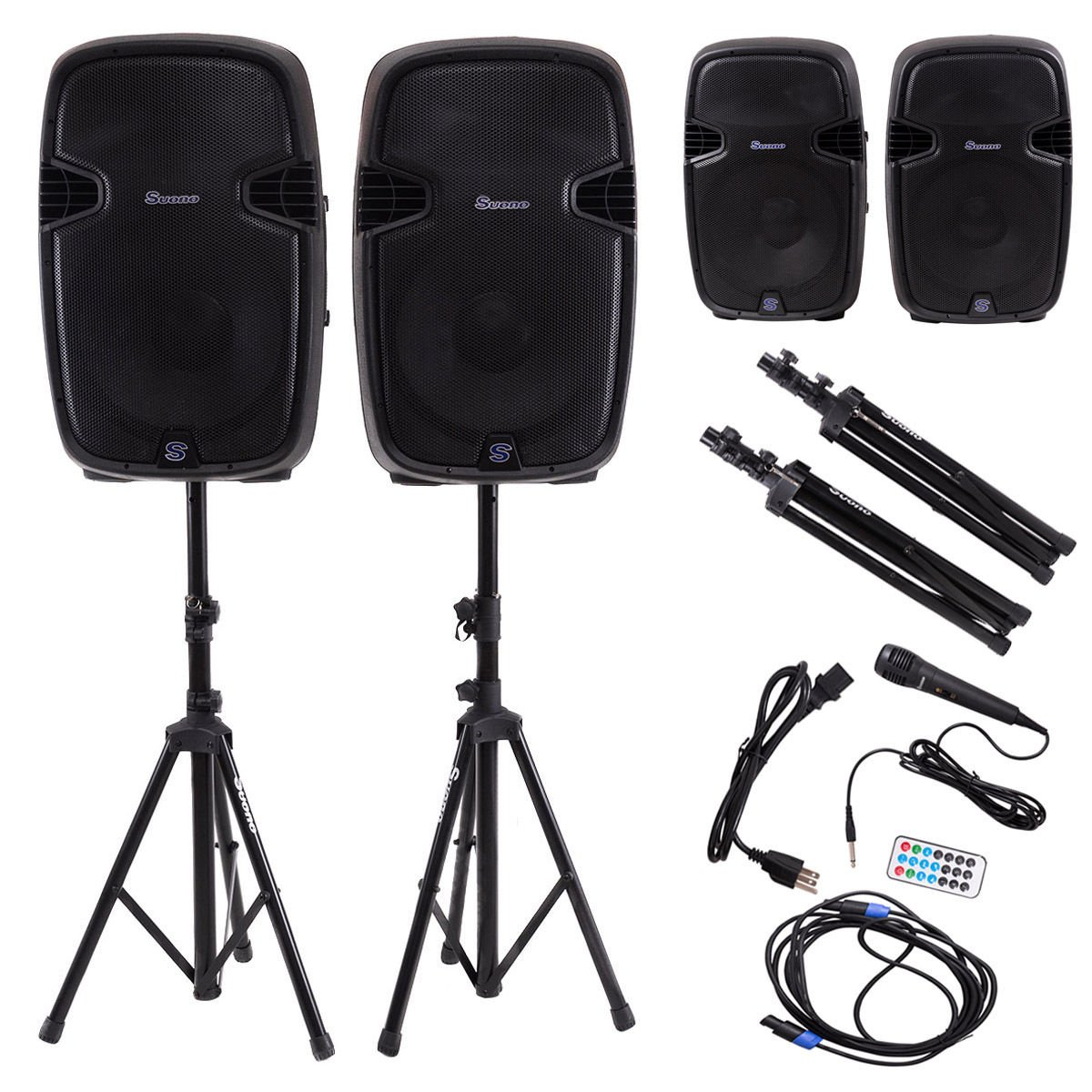 """Suono 15"""" Dual Powered Speakers, 3000W 2-Way Portable Loud Speaker With Stands and Microphone (Active+Passive Speakers + Stands)"""