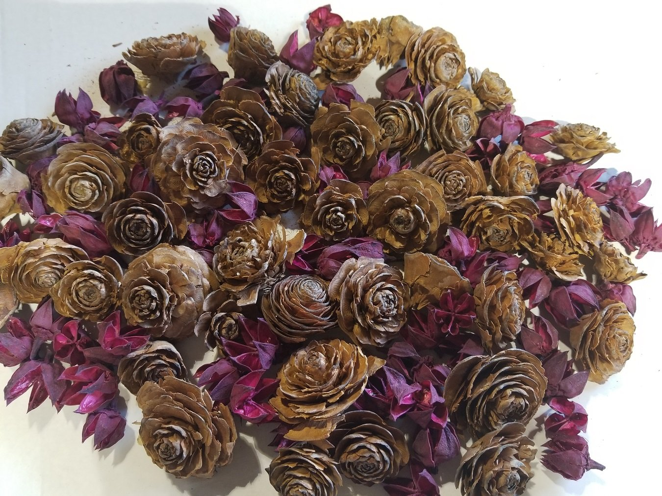 Cedar Rose Pine Cones with Dried Flowers - Perfect for Potpourri, Bowl Fillers, Home Decor, Crafting - Can be used in all Seasons, Best for Fall and Winter