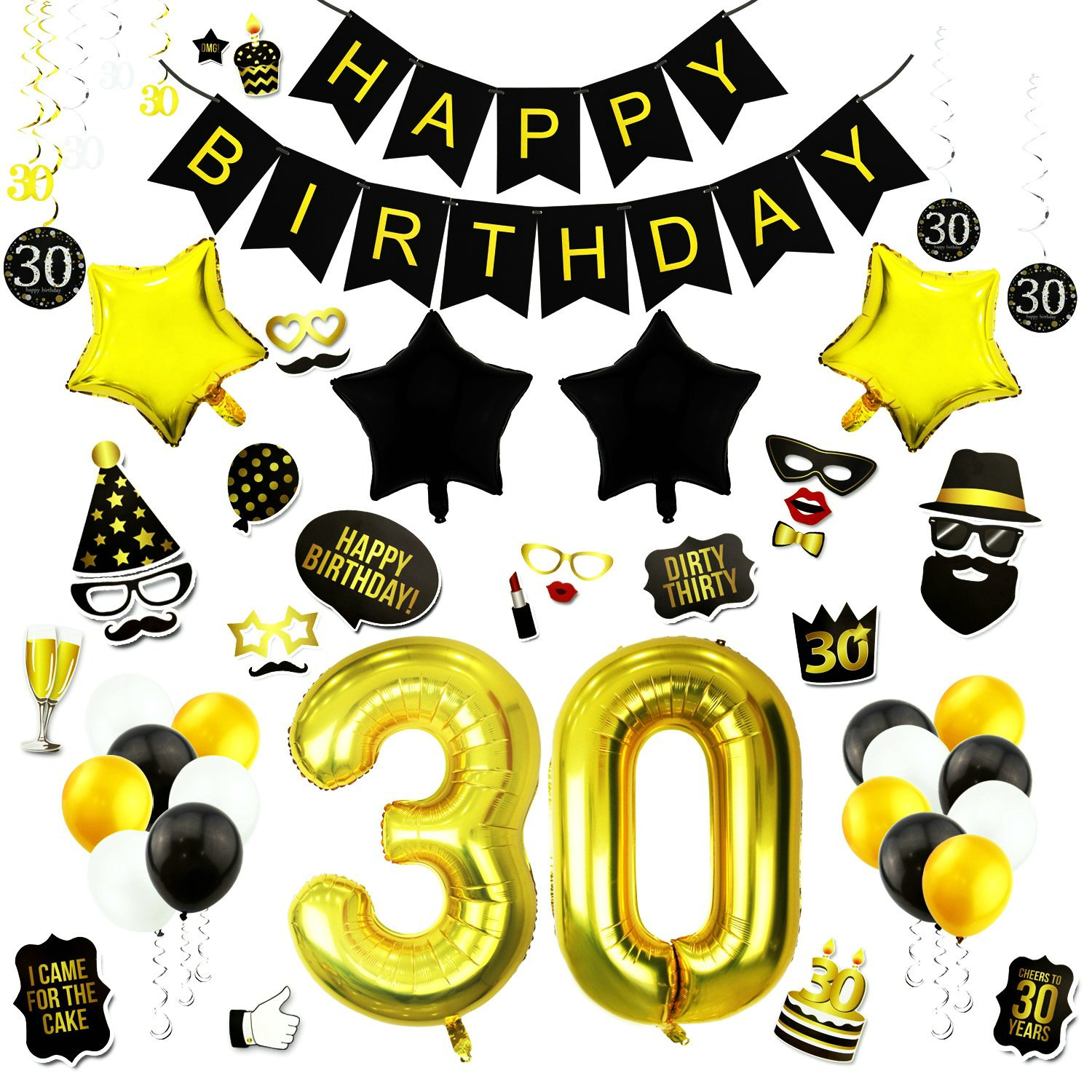 GOER 63 Pcs 30th Birthday Decorations Set,42 Inch Gold Foil Number 30 Balloons with 30th Birthday Party Photo Booth Props Birthday Banner Hanging Swirls Latex Balloon for 30th Birthday Party Supplies