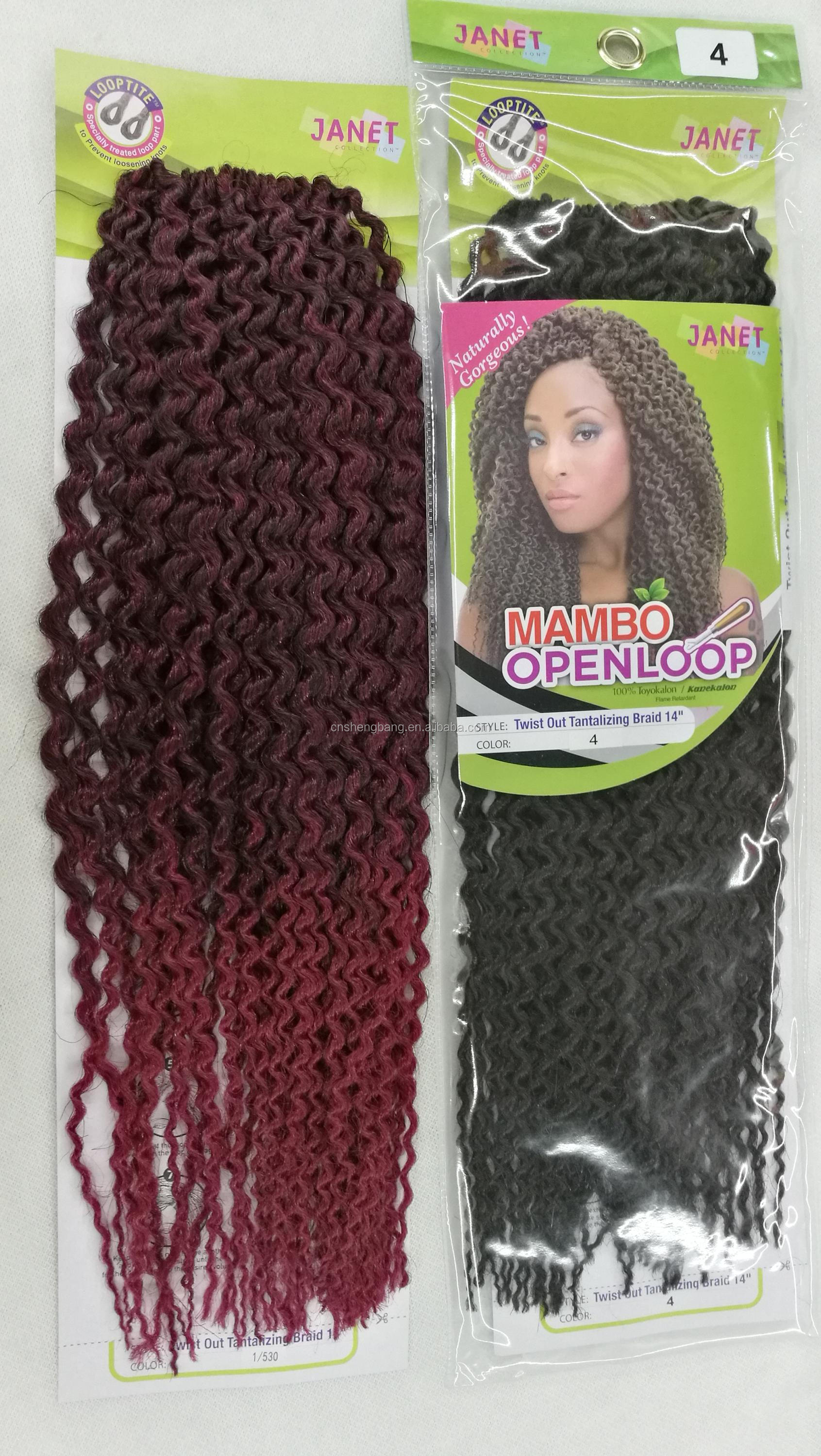 "mambo openloop twist out tantalizing braid 14"" Black 4# and 1/530,afro twist braid"