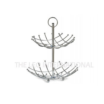 Beautiful design cross shape wire hanging 2-tier fruit polish basket